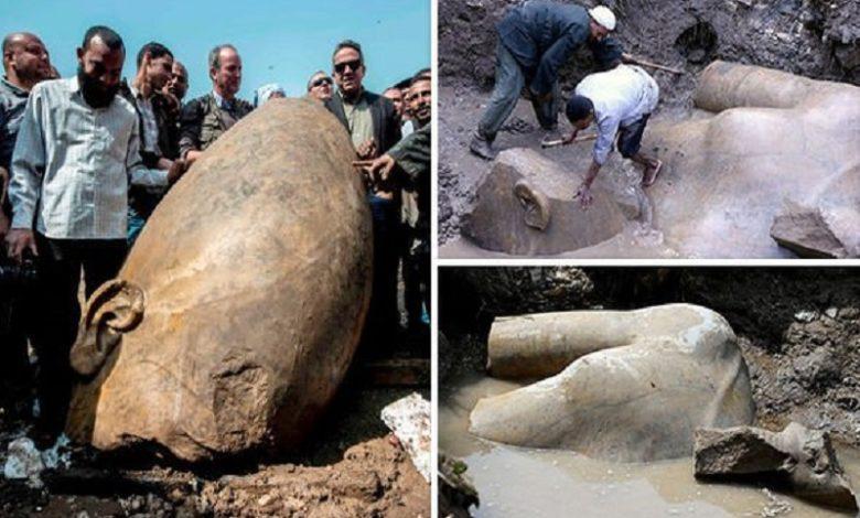 Encontraron una estatua de Ramsés II de 26 pies de altura