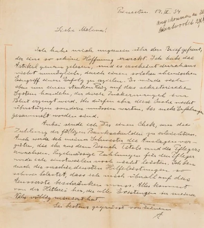 la carta de Albert Einstein