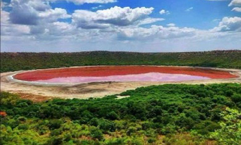 lago Lonar creado por la caída de un meteorito se torna curiosamente rosa