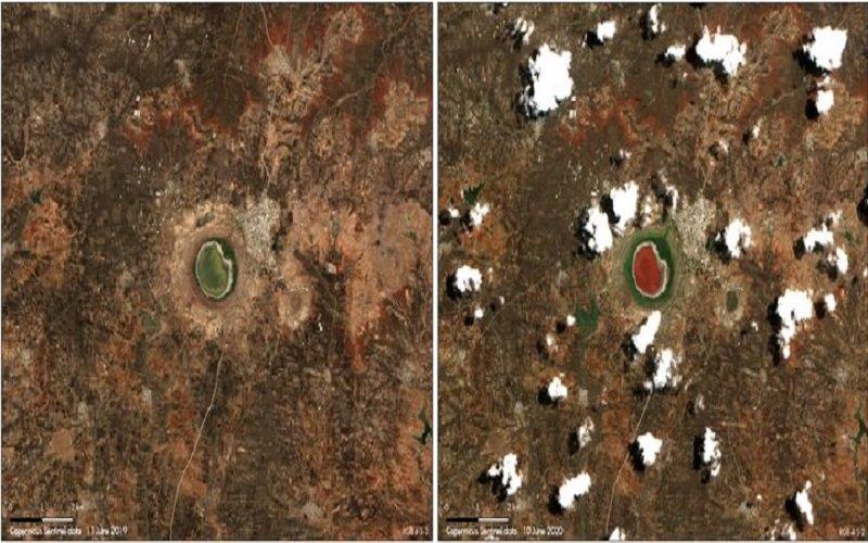 lago Lonar creado por la caída de un meteorito se vuelve rosa